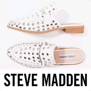 Steve Madden Laaura White Leather Studded Mules